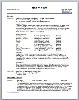 The Physician Assistant Life  New Grad Resume
