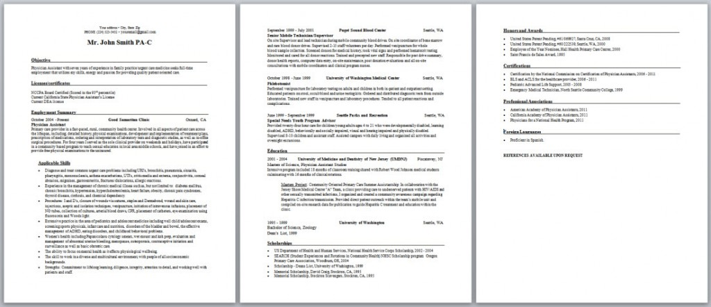 Physician Assistant Resume  Curriculum Vitae And Cover Letter Samples