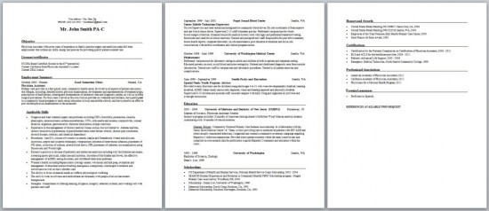 Physician assistant new graduate sample resume and curriculum.