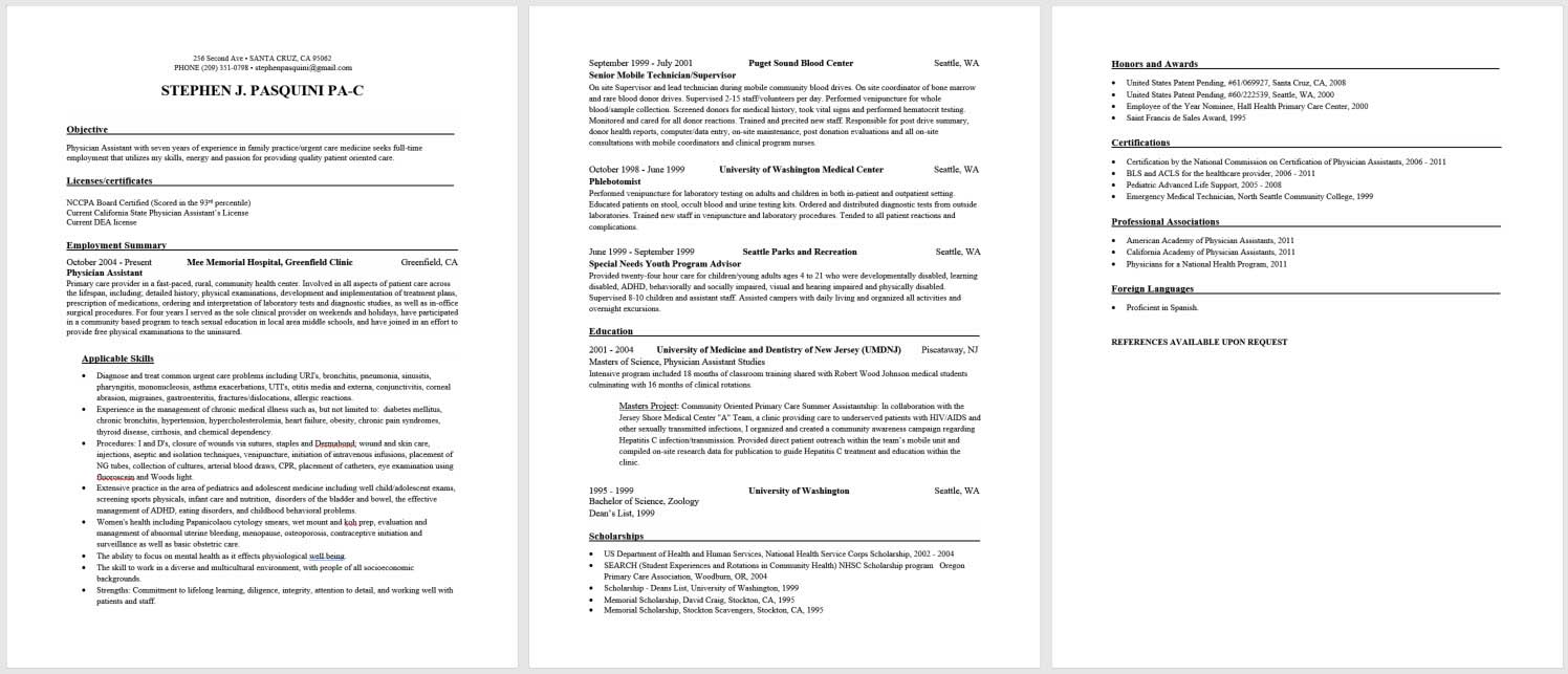 Physician assistant new graduate sample resume and for Cv template for physicians