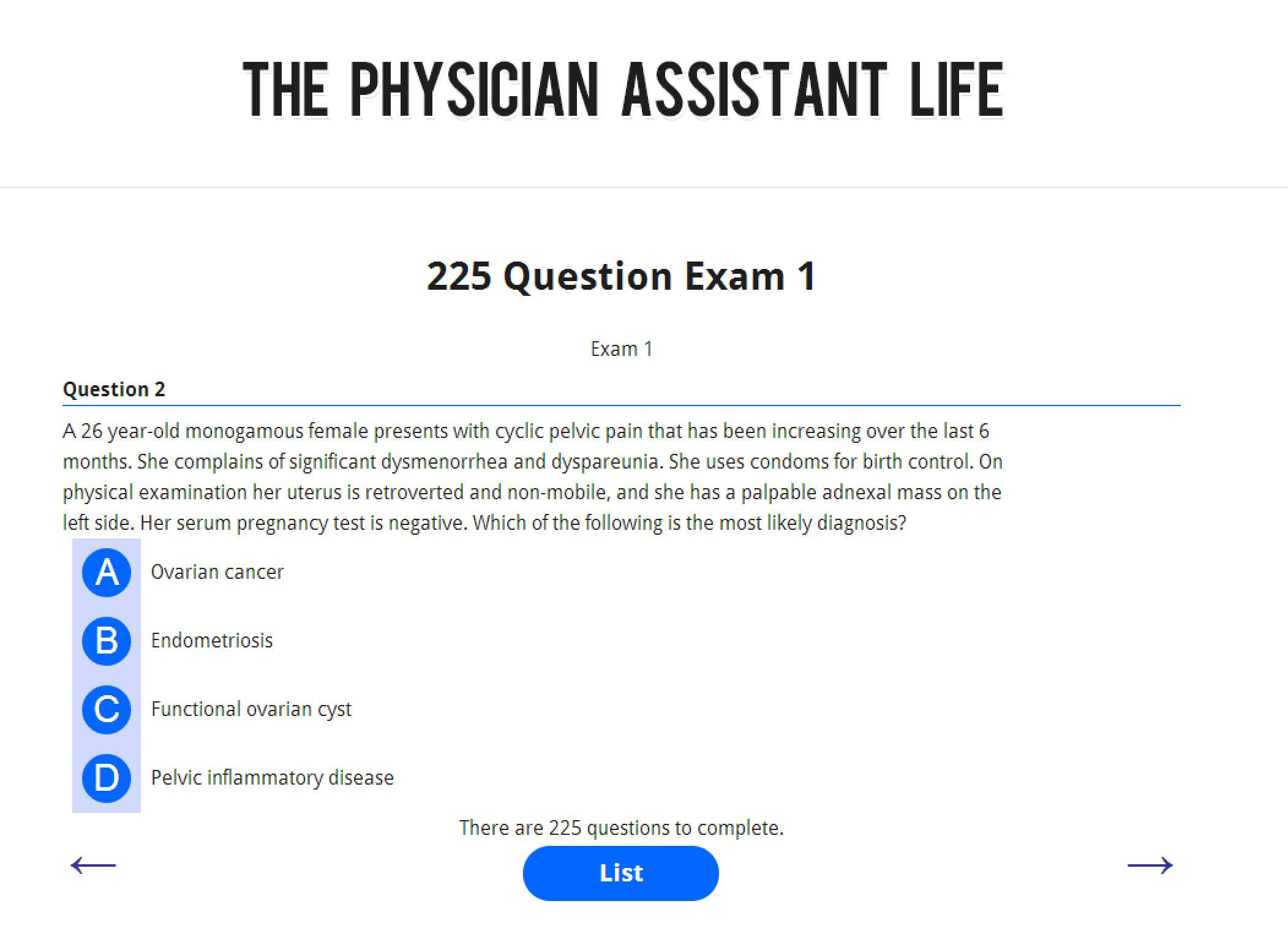 The pance and panre exam academy cheap physician assistant board pance and panre practice test exam 1 malvernweather Choice Image