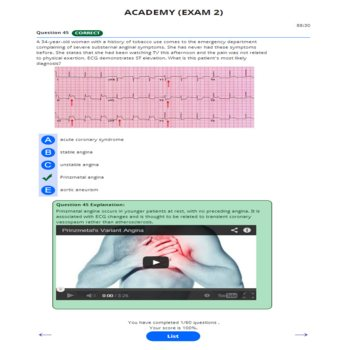 PANCE AND PANRE ACADEMY ONLINE PRACTICE EXAM 2 WITH ECG