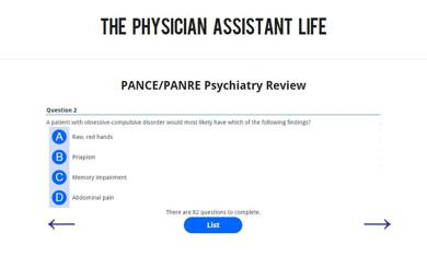 PANCE and PANRE Psychiatry Blueprint Topic Specific Exam