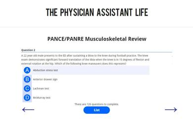 PANCE and PANRE Musculoskeletal Blueprint Topic Specific Exam