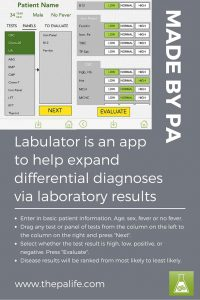 Labulator is an app to help expand differential diagnoses via laboratory results. Made by PA