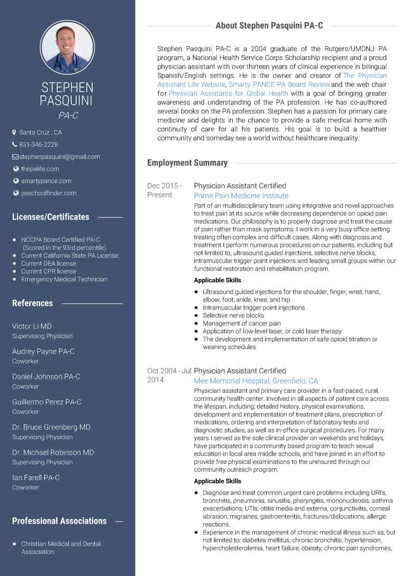 Physician Assistant Resume Sample