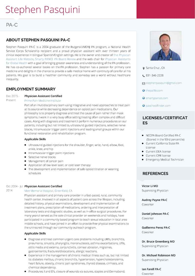 use visualcv to create a stunning physician assistant resume