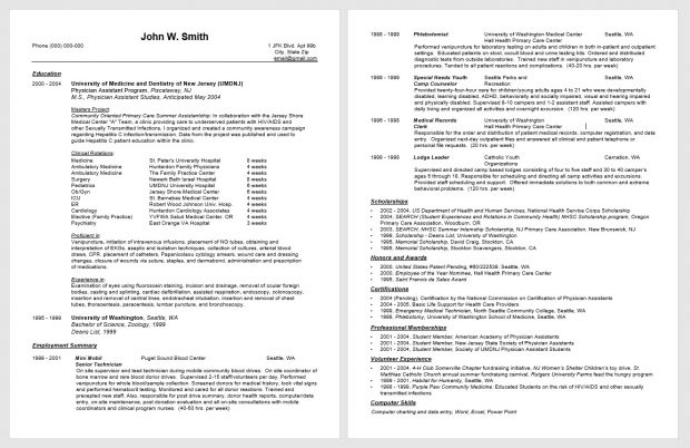 physician assistant resume revision cv cover letter editing