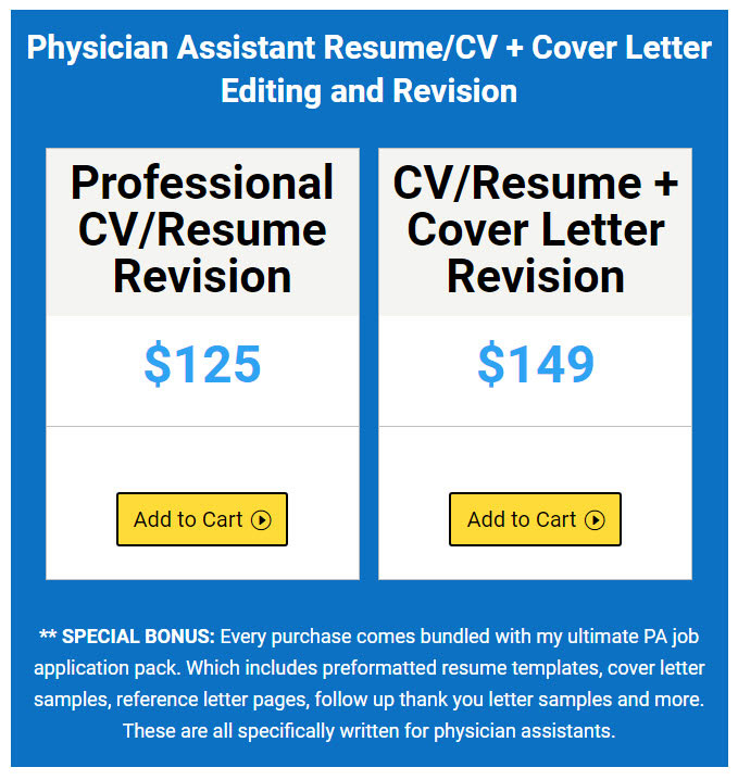 PA RESUME REVISION AND EDITING SERVICE