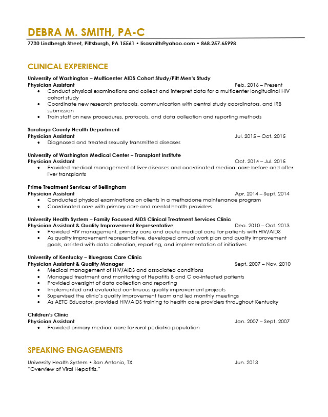 physician assistant  resume revision