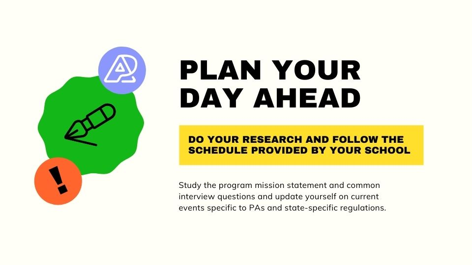 The PA School Interview Day Essay - Plan Your Day