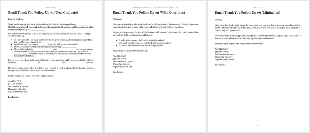 physician assistant thank you and follow up letter templates. Resume Example. Resume CV Cover Letter