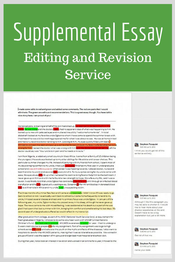 supplemental essay editing and revision
