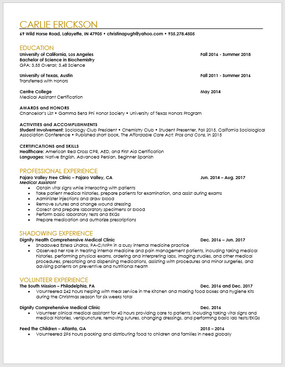 Pa School Applicant And Pre Pa Resume Template